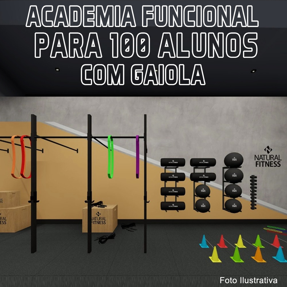 Academia de Treino Funcional Com Gaiola Para 100 Alunos/Mês