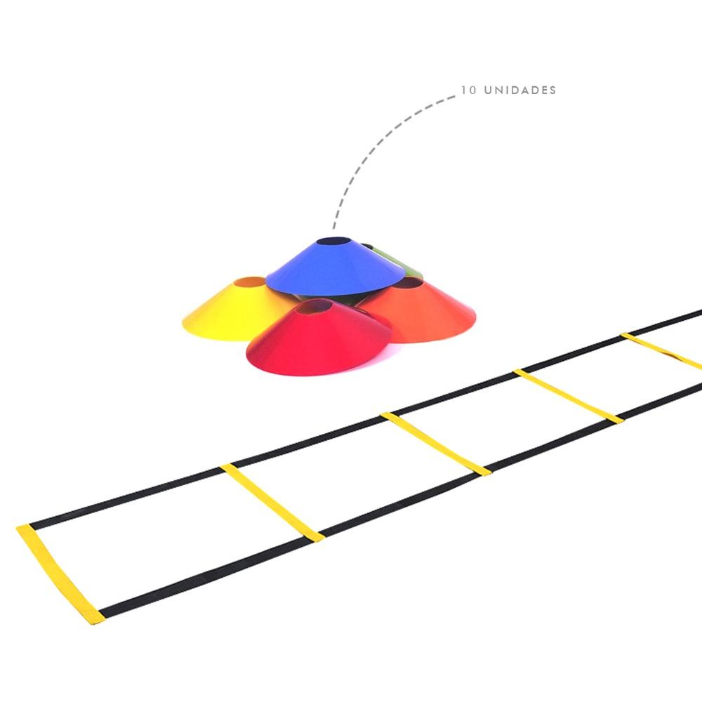Kit Escada de Agilidade Nylon + 10 Chapéu Chinês Colorido