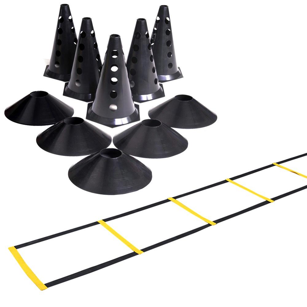 Kit 6 Cones com Furo + Escada de Agilidade Nylon + 6 Chapéu Chinês Preto