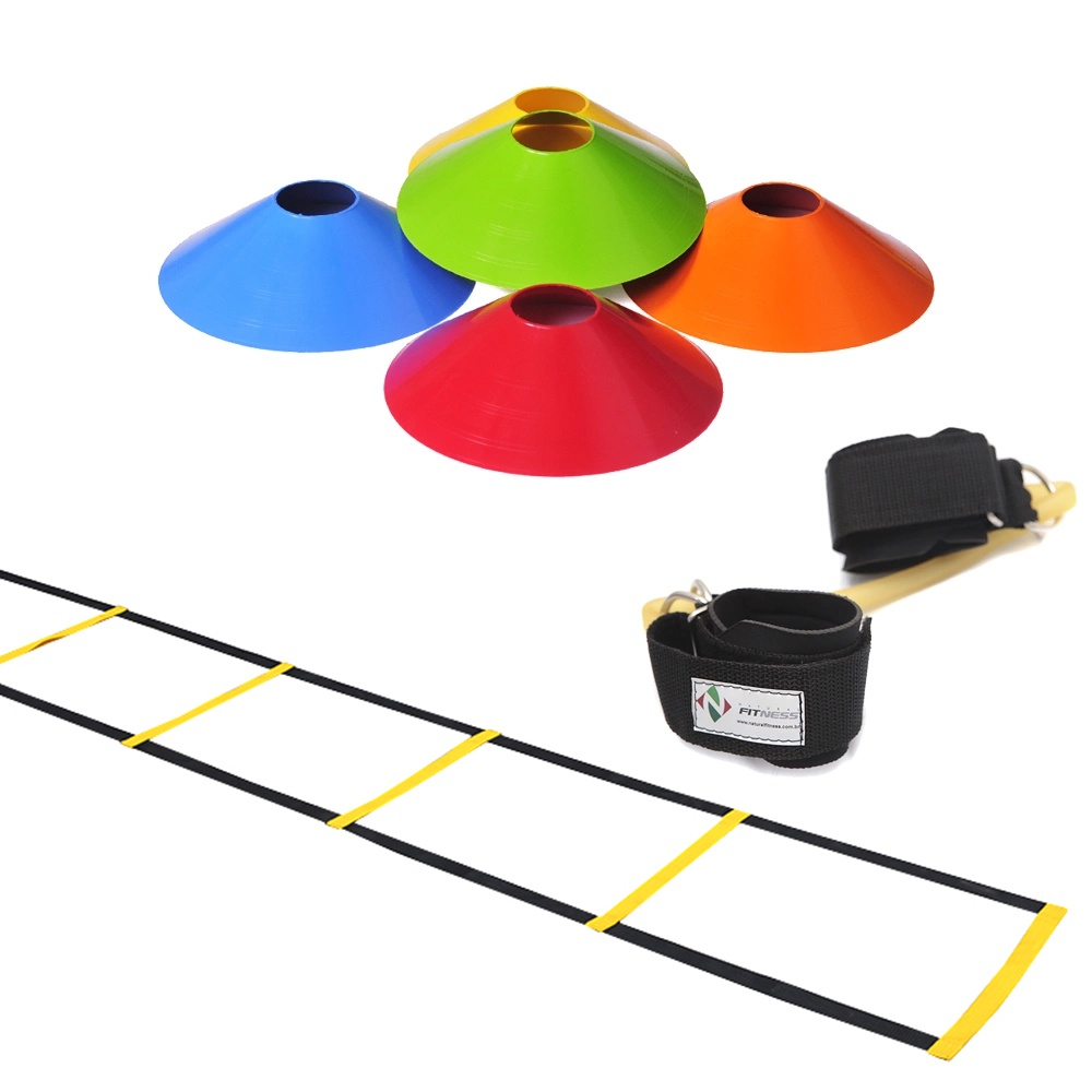 Kit Escada de Agilidade Nylon + 10 Chapéu Chinês Colorido+ Elástico Extensor de Perna