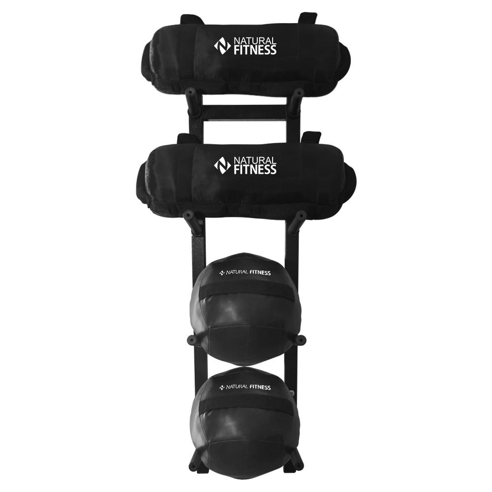 Suporte + Wall Ball 4kg e 6kg + Power Bag 5kg e 10kg Para Treino Funcional