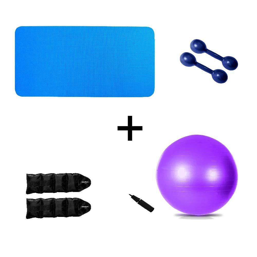 Kit Colchonete Azul 10mm+ Par Halter 1kg + Par Caneleira 1kg + Bola Suíça Pilates 55cm