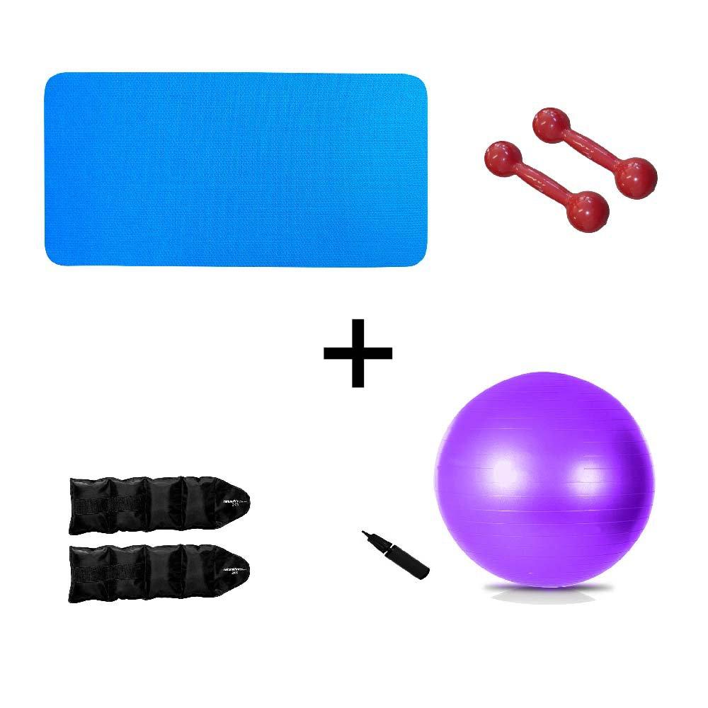 Kit Colchonete Azul 10 mm+ Par Halter 2kg + Par Caneleira 2kg + Bola Suíça Pilates 55cm