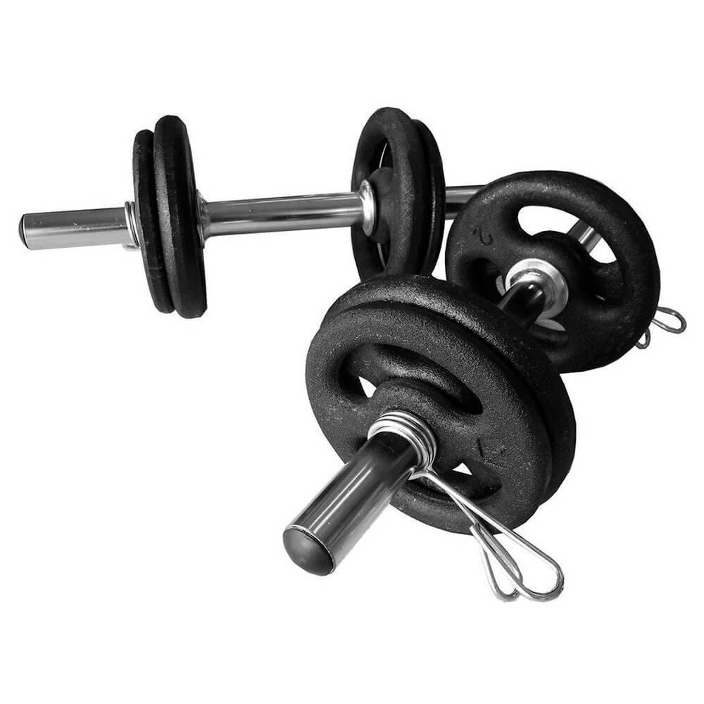 Kit Anilhas de Ferro (12kg) + 2 Barras de 40cm oca