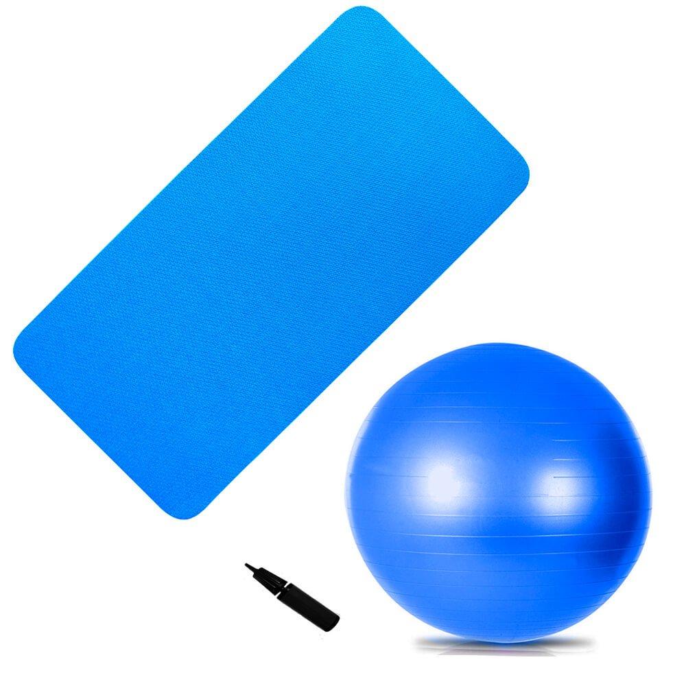 Kit Bola Suiça 65 Cm + Colchonete Academia Azul