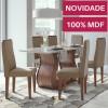 Mesa com 6 cadeiras Lopas Dafne Imbuia Naturale com tampo de vidro Off White 1,60m