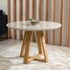 Mesa de Jantar Provincia Bennet Redonda C/ Vidro - Natural/ Off White