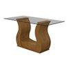 Mesa com 6 cadeiras Lopas Dafne 100% MDF Rovere Soft com tampo de vidro 1,60m