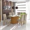 Mesa com 6 cadeiras Lopas Nevada 100% MDF Rovere Soft com tampo de vidro branco 1,80m