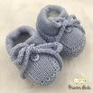 Sapatinho De Tricot Laço Azul Bebê