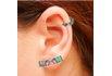 Brinco Ear Cuff Zircônia Lesprit LB12271MIX1BK Ródio Negro Multicor