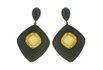 Brinco Zircônia Lesprit LB05251 Ródio Negro Yellow Fancy e Preto