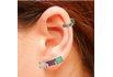 Brinco Ear Cuff Zircônia Lesprit LB12271MIX3BK Ródio Negro Multicor Leitosa
