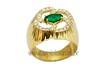 Anel Elegânce Em Ouro 18K 1 Pedra de Esmeralda 30 Unid de Diamantes de 1,0 pt