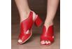 Sandália Salto Grosso Vermelha- 177-02