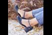Sapato Boneca Salto Grosso-Couro Azul Marinho- 600-28