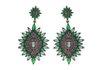 Brinco Zircônia Lesprit LB13081 Ródio Negro Verde e Ametista