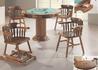 Conjunto Para Jogos Em Madeira Maciça Imbuia Com 3 Cadeiras Country e 1 Cadeira Country De Balanço