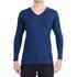 Camiseta Gola V Manga Longa Azul- Algodão Egípcio