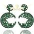 Brinco Zircônia Lesprit 13101 Ródio Negro Verde Leitosa