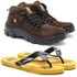 Bota Caterpillar Adventure Marrom 1015 + Chinelo CAT de Borracha Amarelo