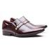 Sapato Social Gofer em Couro Verniz Dark Red com Detalhes Estampados Exclusivos - 17288APU