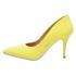 Sapato Feminino Scarpin Salto Médio Verniz Amarelo