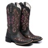 Bota Texana Feminina Bico Quadrado Cano Alto Couro Fóssil Preto