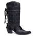 Bota Country Texana Feminina Couro Vecchio Preto Polaina Metal