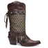 Bota Country Texana Feminina Couro Vecchio Café Polaina Metal Pena