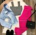 Calça Social Com Cinto Pink