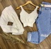 Twin Set Tricô Cropped e Casaco Liso Branco