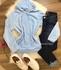 Casaco Plush Com Perolas e Orelhinhas Azul Claro