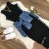 Vestido Midi - Listra Lateral Preto e Branco