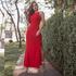 Vestido Longo Costas Nua em Malha Canelada Premium - Vermelho Escuro