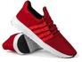 Tênis Caminhada Em Nylon e Couro Camurça Vermelho 200