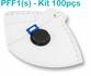 Respirador Descartável Tipo PFF1 (S) Branca Com Válvula - Caixa com 100 un.