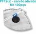 Respirador Descartável Tipo PFF2 (S) Branco Carvão Ativado - Caixa com 100 un.