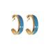 Brinco Argola Coleção Summer Semijoia Banho de Ouro 18K Resina Azul