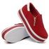 Slip On Zíper Sola Alta Vermelho Verniz Branco DKShoes