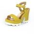 Sandália Feminina Top Franca Shoes Salto Grosso Amarela