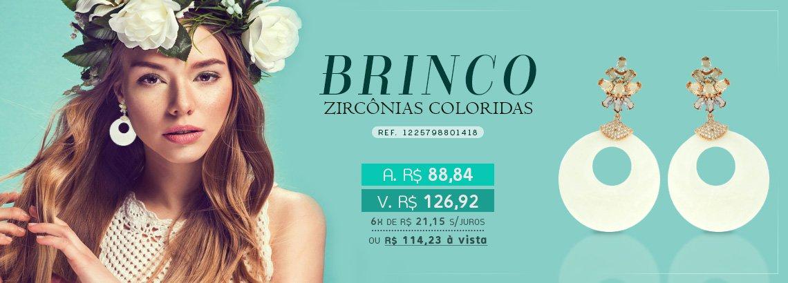 Brinco Zircônia Lesprit LB14181WMIXCORS Rosé Madrepérola E Multicor