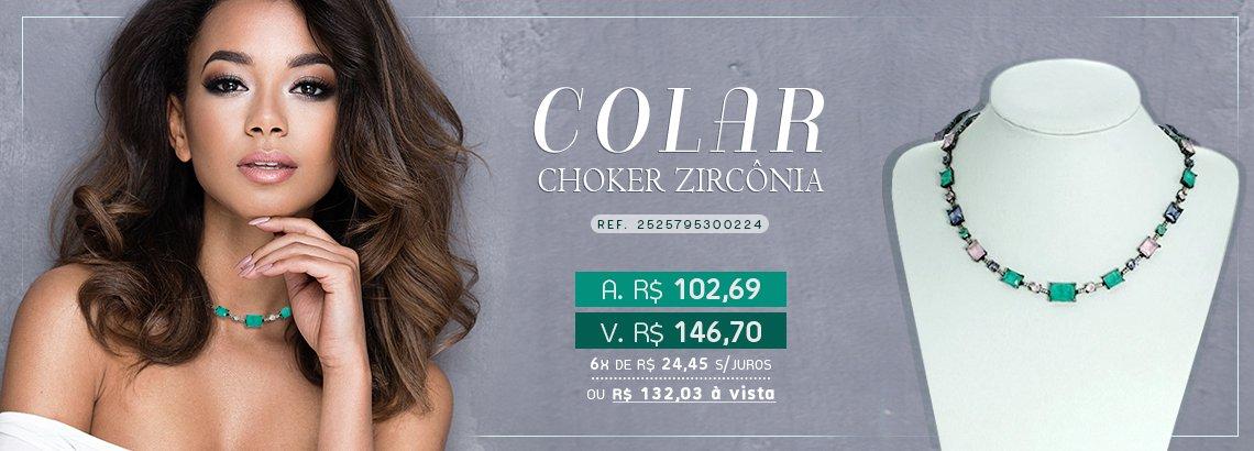 Colar Choker Zircônia Lesprit LC02241MIX3BK Ródio Negro Multicor