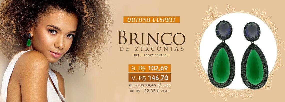 Brinco Zircônia Lesprit LB15211 Ródio Negro Ametista E Esmeralda