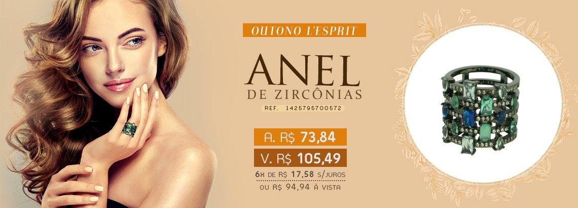 Anel Zircônia Lesprit LA05721WMIX1BK Ródio Negro Multicor