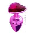 Plug Metálico Pedra Formato de Coração Hard (CSA121-HA121) - Rosa