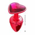 Plug Metálico Pedra Formato de Coração Hard (CSA121-HA121) - Vermelho