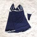 Camisola Britney Plus Size ( LK99950 ) - Azul Com Branco