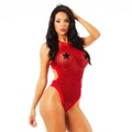 *Body Romântico Vermelho Com Coração Preta (PS8032) - Padrão