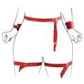 Cinta Liga Em X Com Algema Harness 50 Tons (T012) - Vermelho